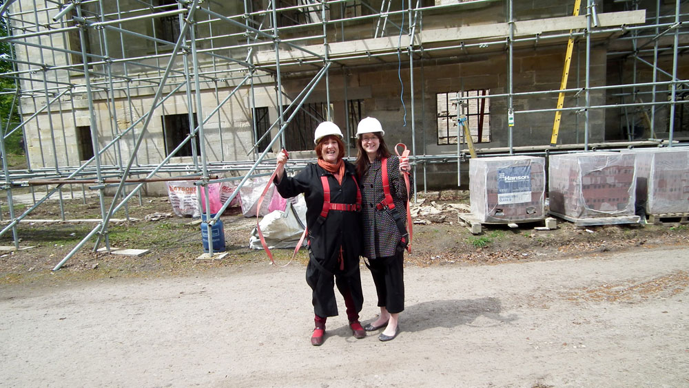 Pam Judson and Louise Trow outside Penicuik House